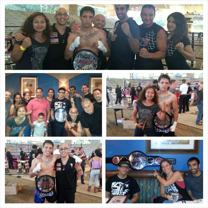 Collage of Ritchie Sandoval with his IFS Championship belt and various supporters.