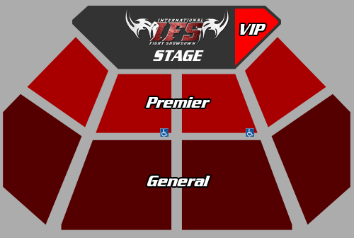 Plan view of IFS stage and VIP, Premier, and General seating sections.