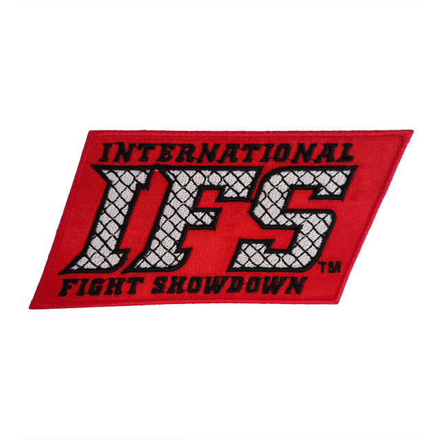 Red embroidered patch with black and white IFS block logo.