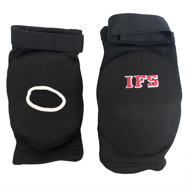 Pair of black elbow pads with red and white IFS initials on each.