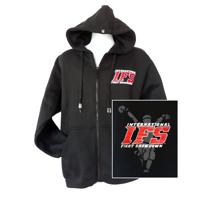 Front of black full-zip hoodie with red and white IFS block logo on left chest. Inset of red, white, and gray IFS fighter logo on back.