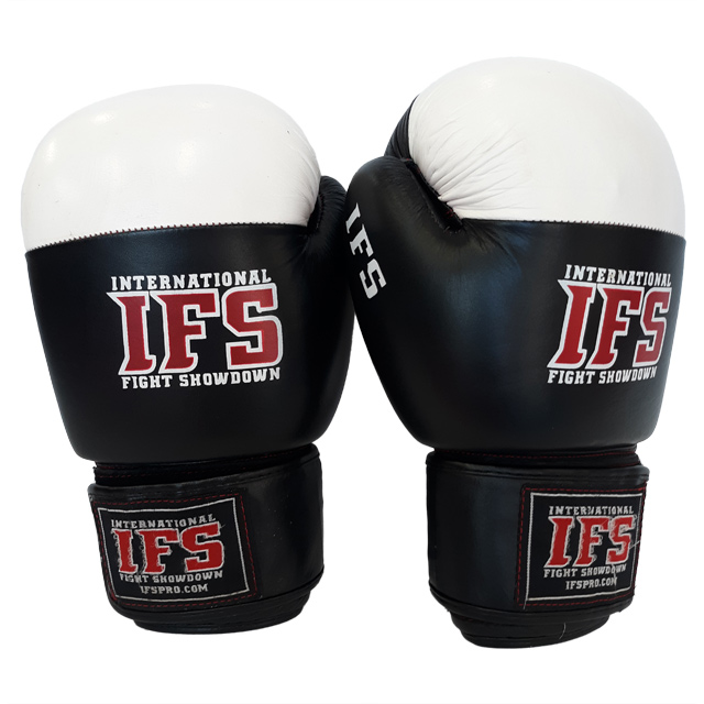 Pair of black and white leather boxing gloves with red and white IFS logos on each.