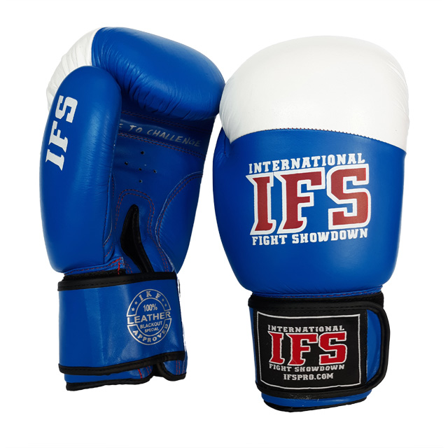 Pair of blue and white leather boxing gloves with red and white IFS logos on each.