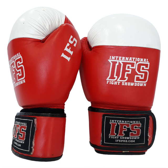 Pair of red and white leather boxing gloves with white IFS block logos on each.